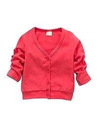 Mofgr Child Boys Girls V-neck Cardigan Thick Cotton Jacket Coat Casual Comfortable
