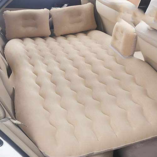SUV Inflatable Mattress Car Air Bed with Air Pump, Back Seat Sleep and Rest Pad, Outdoor Travel Inflatable Mattress CIM0906 (Color : Beige) by ZCY-Auto Mattress