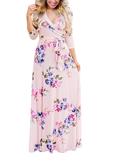 AlvaQ Women Formal Long Sleeve Floral Maxi Long Dresses Casual 2017 Slimming Plus Size Elegant Wrap Dresses
