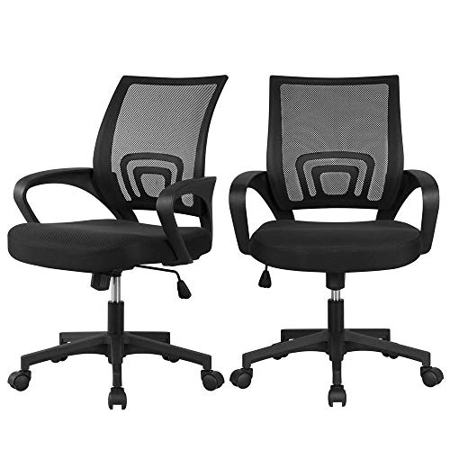 Yaheetech Office Chair Mid Back Swivel Lumbar Support Desk Chair, Height Adjustable Computer Ergonomic Mesh Chair with Armrest Black (2-Pack)
