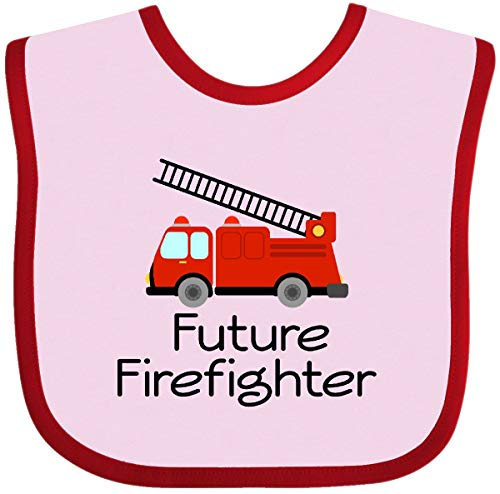 Inktastic - Ladder Truck Future Firefighter Baby Bib Pink and Red - Firefighter Future Bib Baby