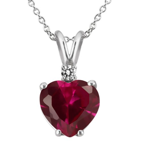 225-Ct-Heart-Shape-Red-Created-Ruby-White-Diamond-18K-White-Gold-Pendant