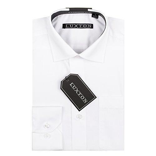 (Luxton Cotton Poly Shirt Collection Regular Fit (White 01,Small/Neck:14-14 1/2, Sleeve:32/33))