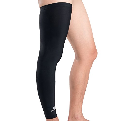 Kuangmi Sport Ultra-Thin Breathable Compression UV Sun Protection Men, Women & Youth Leg Thigh & Calf Cooling Silk Sleeve for Football, Baseball, Running, Volleyball (Black,Medium)