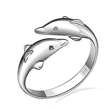 925 Sterling Silver Lovely Double Dolphin Ring, Adjustable Size so