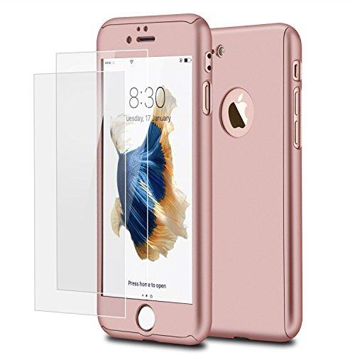 iPhone 7 Plus 360 Degres + Protection en Verre Trempé, [ 360 ° ] Coque de protection avant et arrière cases iPhone 7 Plus Integrale pour iPhone 7 Plus - Or Rose