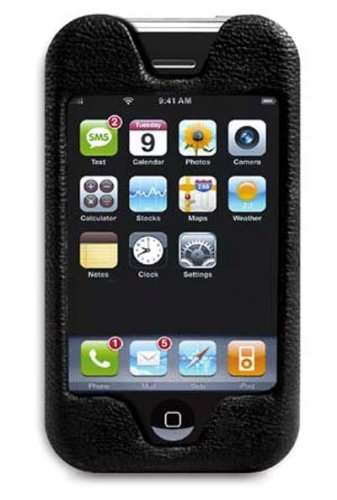 Macally Leather Top Slip-In Pouch for iPhone 1G (Black)