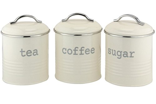 EHC Set Of 3 Airtight Tea Sugar And Coffee Storage Canister Jars, Cream:  Amazon.co.uk: Kitchen U0026 Home