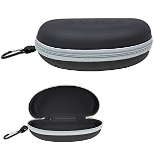 Waterproof Sunglasses and Eyeglasses Case - Durable, Hard EVA Zippered Glasses Holder with Back Pack Clip - Grey - by Splaqua