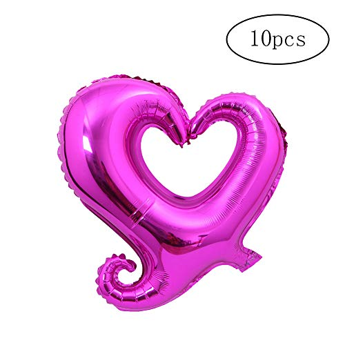 Romote 10pcs/lot Hook Heart Shape Foil Helium Balloons Air Heart Balloon for Birthday Wedding Decoration Hollow Ballon Party -