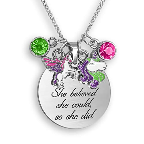 - She Believed She Could So She Did Necklace Engraved Necklace Inspirational Gifts For Women Feminist Gifts Charm Necklace For Women Motivational Gifts For Women Encouragement Gifts Necklace