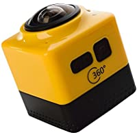 CUBE 360 Waterproof Mini WiFi Panoramic Sports Action Camera 1280 1042 28 FPS Ultra HD Portable Fisheye Wide View 360° No Dead Angle Diving Camcorders 32G Best For Skiing Skiing (Yellow)