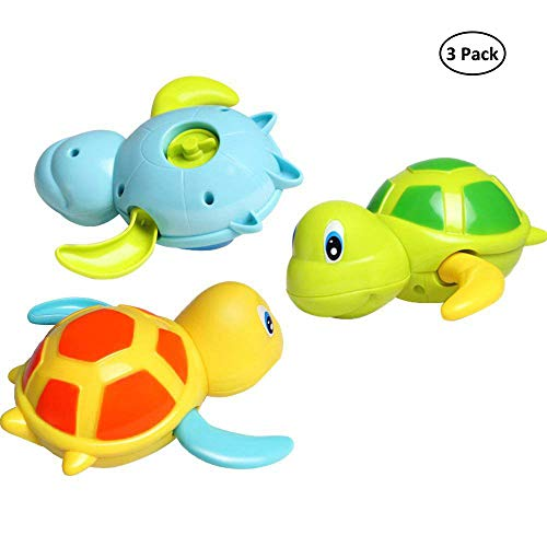 Dmeixs Baby Bath Toy, Wind Up Bath Toys,Turtle Bathtub Toys for Toddlers, Floating Toys, Eco-Friendly Material, 3 Pack ()