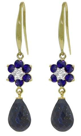 14k Solid Gold Fish Hook Sapphire Flower Earrings