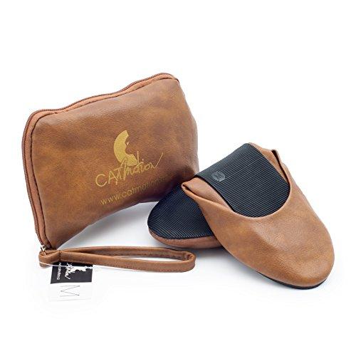 CatMotion Faltbare Schuhe für Die Handtasche, Damen-Ballerinas, Faltbare Ballerinas, Schuhe für Die Tasche, Mehrere Farben (Gr. 36-43) Native, Braun