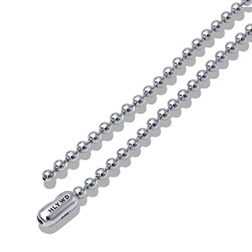 Beydodo Mens Sterling Silver Necklace Chains Punk Rock 3mm Bead Chain Necklace 28 inch Punk Necklace Men