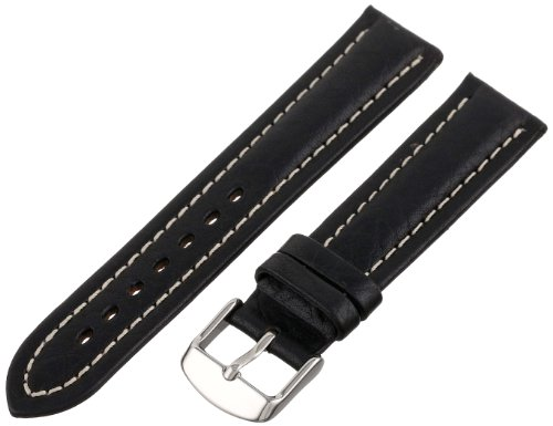 Hadley-Roma Men's MSM886RA-190 19-mm Black Genuine Shrunken Leather Watch Strap (Shrunken Leather)