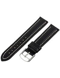 Hadley-Roma Men's MSM886RA-190 19mm Black Genuine Shrunken Leather Watch Strap