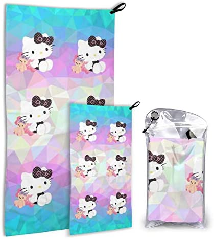 2 Packs Sports Beach Towel, Hello Kitty Super Absorbent Quick Dry Towels for Camping, Travel, Gym, Swim