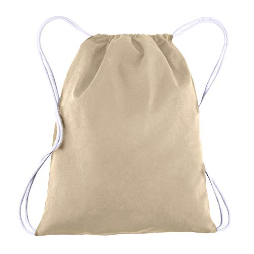 Canvas Drawstring Backpack Bulk Blank - 25 Pack - Wholesale Gym Sack Reusable and Customizable Cinch Bags 14X18 (Natural)