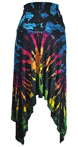 (Amazing Grace Elephant Co Women's Tie-Dyed Summer Ethnic Stretchy Trendy Fashion 2-Way Skirt w Handkerchief Hem (Black)