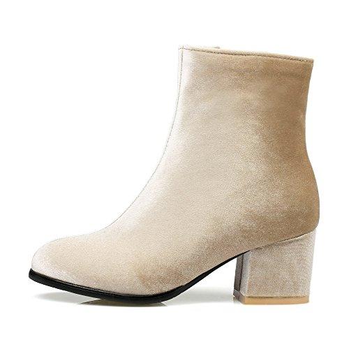AgooLar Damen Blend-Materialien Rein Reißverschluss Rund Zehe Hoher Absatz Stiefel, Aprikosen Farbe, 35