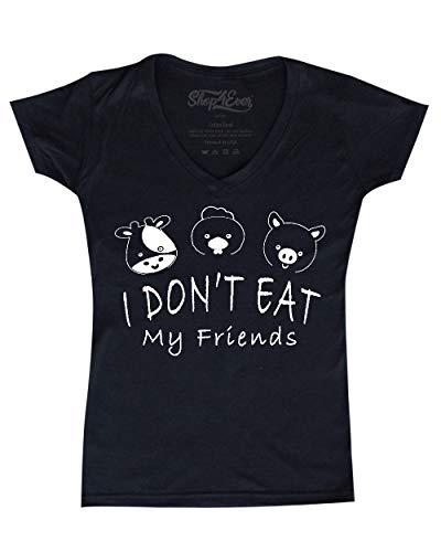 shop4ever I Don't Eat My Friends Women's V-Neck T-Shirt Vegan Vegetarian Shirts Medium Black 0