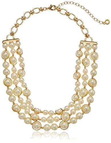Anne Klein Gold Tone Pearl 3-R