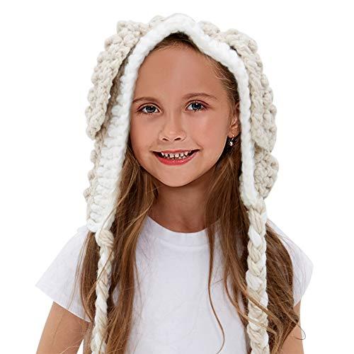 Tacobear Kids Knit Hat Winter Rabbit Hat Warm Animal Hat Handmade Crochet Hat Scarf Cute Animal Ear Beanies Hat for Girls Boys