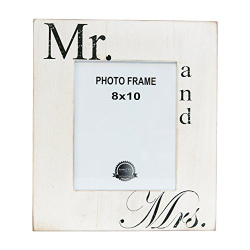 Mr. and Mrs. White Black 14 x 16 Inch Wood Easel Back Wall Plaque Photo Frame -