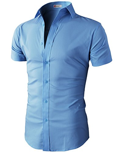 H2H Mens Basic Stylish Button Down Shirt with Cotton Blend Fabric for Men Blue US S/Asia M (KMTSTS0132)