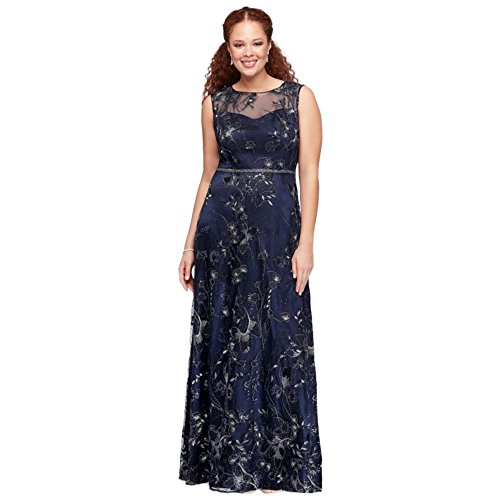 David S Bridal Plus Size Wedding Gowns: David's Bridal Floral-Embroidered Illusion Plus Size Ball
