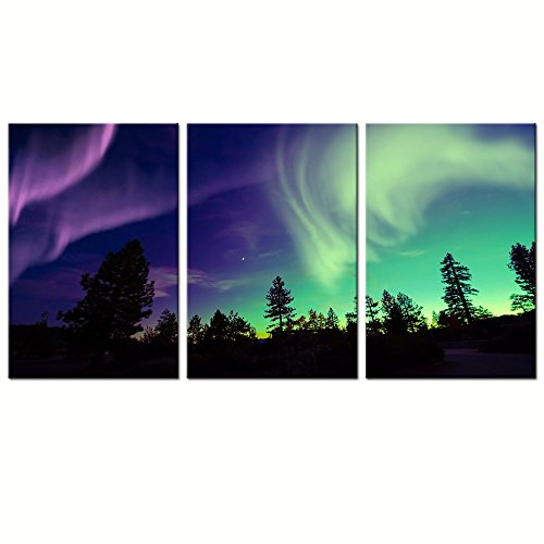 Sea Charm - 3 Piece Wall Art Painting Northern Lights over Forest Landscape Wall Pictures Aurora Print Gallery Canvas Wrapped for Home Bedroom Decor