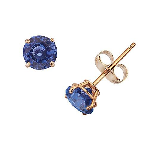 14k Gold Genuine .50ct TW Sapphire September Birthstone Girls Earrings