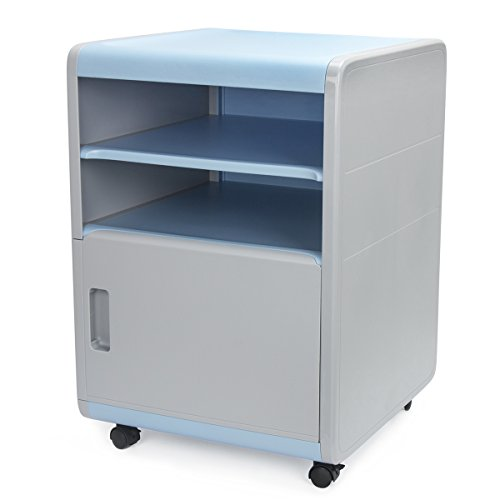Mobile File Cabinet with Combination Lock, EVERTOP Storage Unit Cupboard ABS Plastic Filing Cabinet with Wheels and Shelf (Blue Gray)