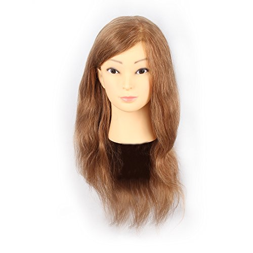 HAIR WAY 20inches 100% Long Real Human Hair Mannequin Head Hair Styling Training Head Manikin Cosmetology Doll Head for Hairdressing and Training Practice #7 (Not with Table Clamp - Competition Mannequin