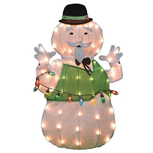 (Lighted Tinsel Rudolph Movie Sam The Snowman Sculpture Outdoor Christmas Decoration Holiday Yard Art Display)