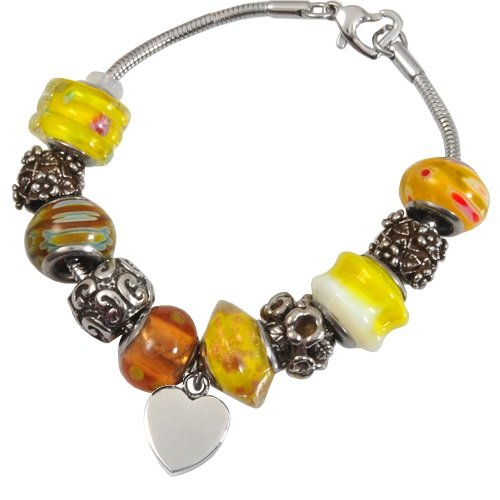 Memorial Gallery Sunrise Yellow Remembrance Bead Pet Heart Urn Charm Bracelet, 9'' by Memorial Gallery