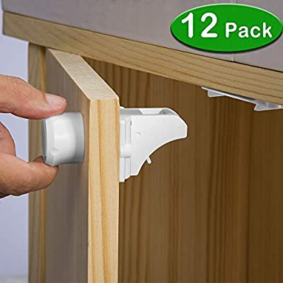 VMAISI 12 Pack Children... Baby Proofing Magnetic Cabinet Locks Child Safety