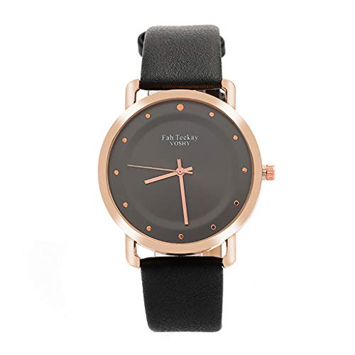 Winsopee Simple Fashion Casual Cool Monochrome Dial Belt Watch for Women Pin Buckle Ladies Watch(Black L)