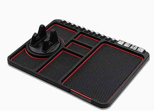 "Cell Pads Non-Stick Anti-Slide Dash Cell Phone Bracket Mat Car Dashboard Sticky Pad Adhesive Anti Mat for Mobile Phone/ Electronic Gadgets GPS (9.76"" × 7.28"", Red)"