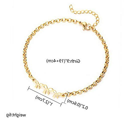 Sand Bracelet Stainless Cuff Steel (Mikash Women Gold Stainless Steel Love Heart Chain Cuff Bracelet Bangle Jewelry Gifts | Model BRCLT - 11582 | 3 Bow)