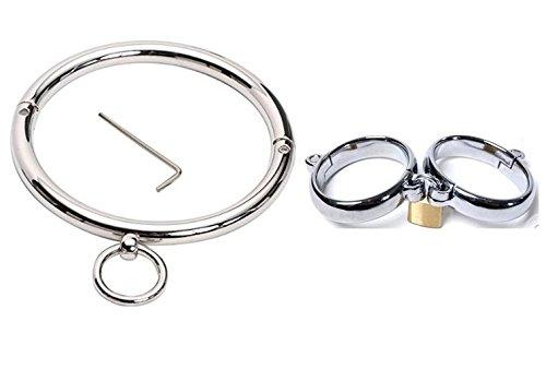 Stainless Steel Metal Neck Collar & Wrist Cuffs Set 3 Pieces