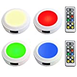 HONWELL Led Cabinet Lights 4 Pack RGB Color Changing Puck Lights Remote Controlled and Battery Powered Closet Lights with Brightness Dimmable Wireless Night Light Indoor
