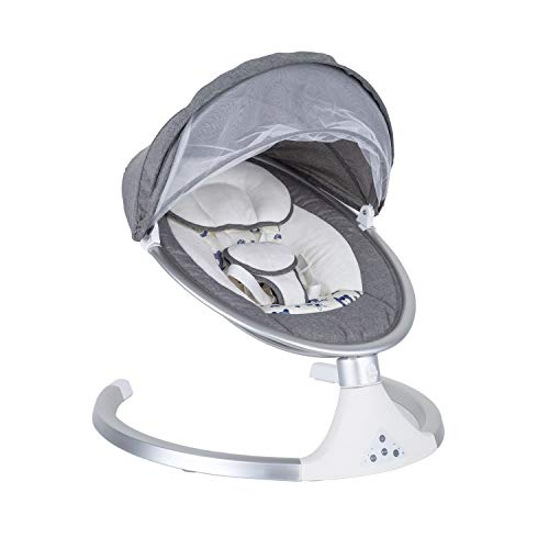 Treasure wagging Auto Infant Baby Swing Soft Toddler Cradle Seat, Adjustable Swing Angle Sleeping Seat to Bassinet with Bluetooth Songs and Sounds, Suitable for Newborn Baby 0-24M(Gray)