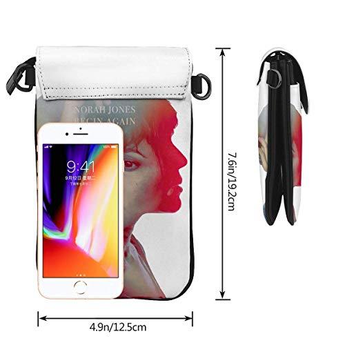 HYJUK Mobiltelefon crossbody väska Norah Jones liten crossbody mobiltelefonväska PU mini messenger axelväska plånbok för kvinnor