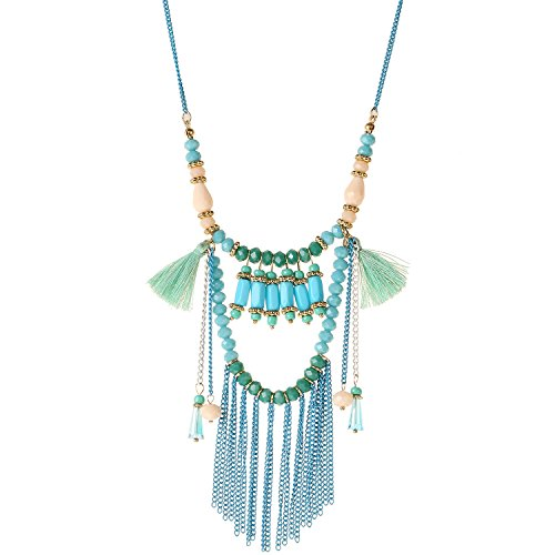 D EXCEED Jewelry Womens Tassel Necklace Handcrafted Multi Layered Colorful Beaded Charms Tassel Pendant Necklaces, 32+ 3 Extension