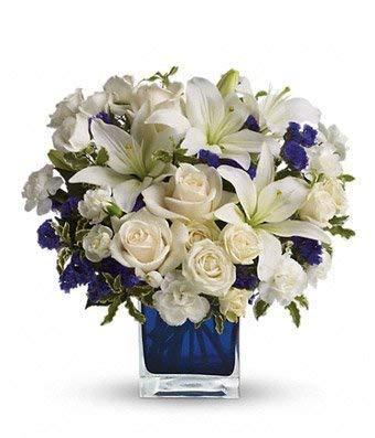 Blue Sympathies Bouquet - Same Day Sympathy Flowers Delivery - Sympathy Flower - Sympathy Gifts - Send Online Sympathy Plants & Flowers
