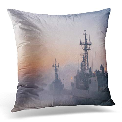 Emvency Throw Pillow Cover Some Navy Frigates and Destroyers in Port During Cold Decorative Pillow Case Home Decor Square 18