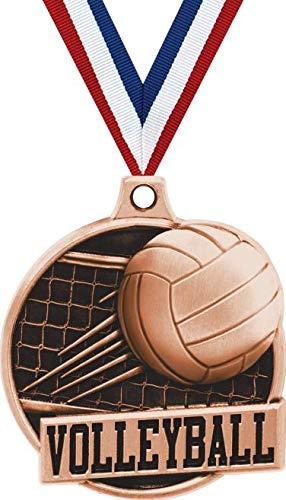 1.5インチ バレーボールメダル - ブロンズバレーボール ネットチャレンジャー賞 メダル プライム B07GJZMKMF  100